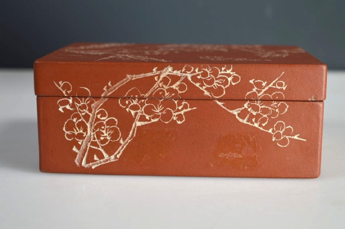 Chinese Incised & Enameled Yixing Box & Cover - 4