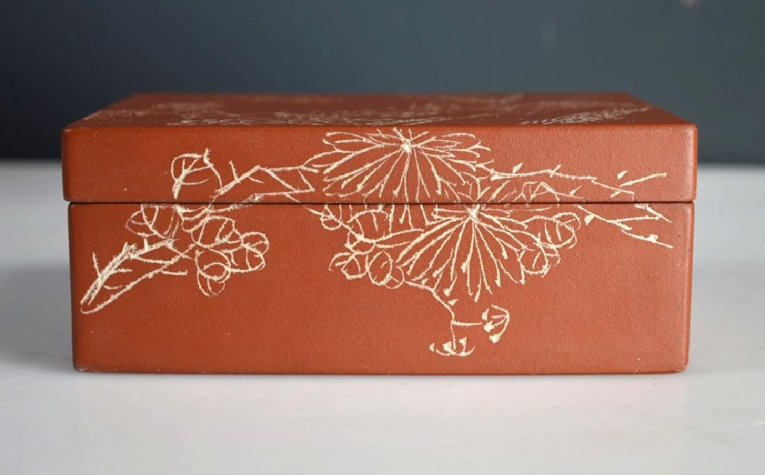 Chinese Incised & Enameled Yixing Box & Cover - 5