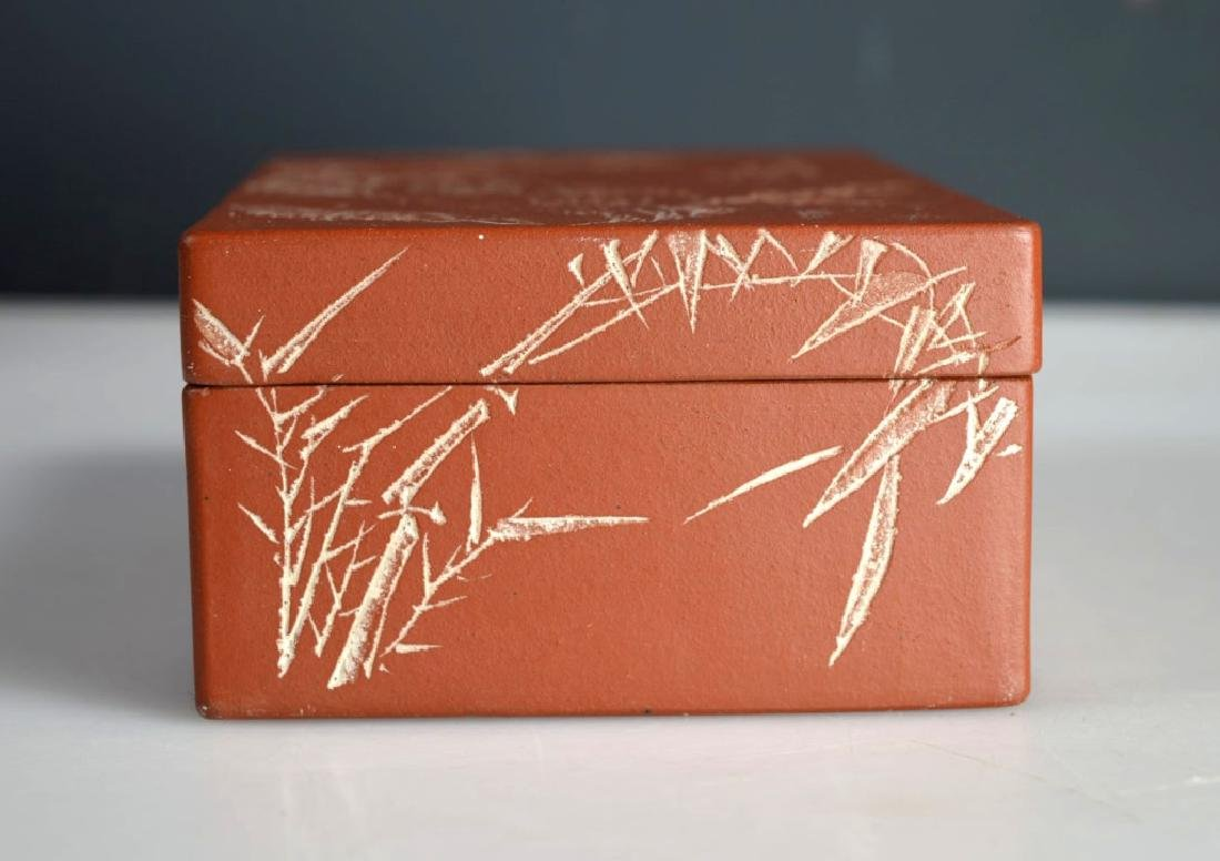 Chinese Incised & Enameled Yixing Box & Cover - 6