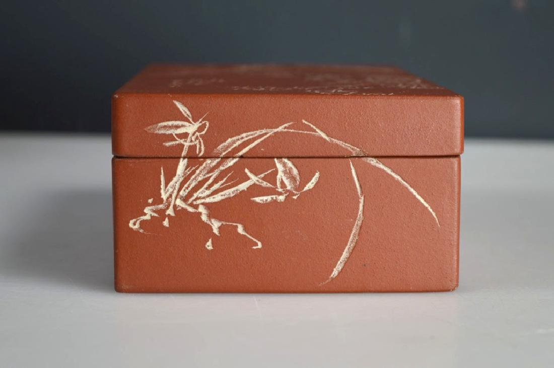Chinese Incised & Enameled Yixing Box & Cover - 7
