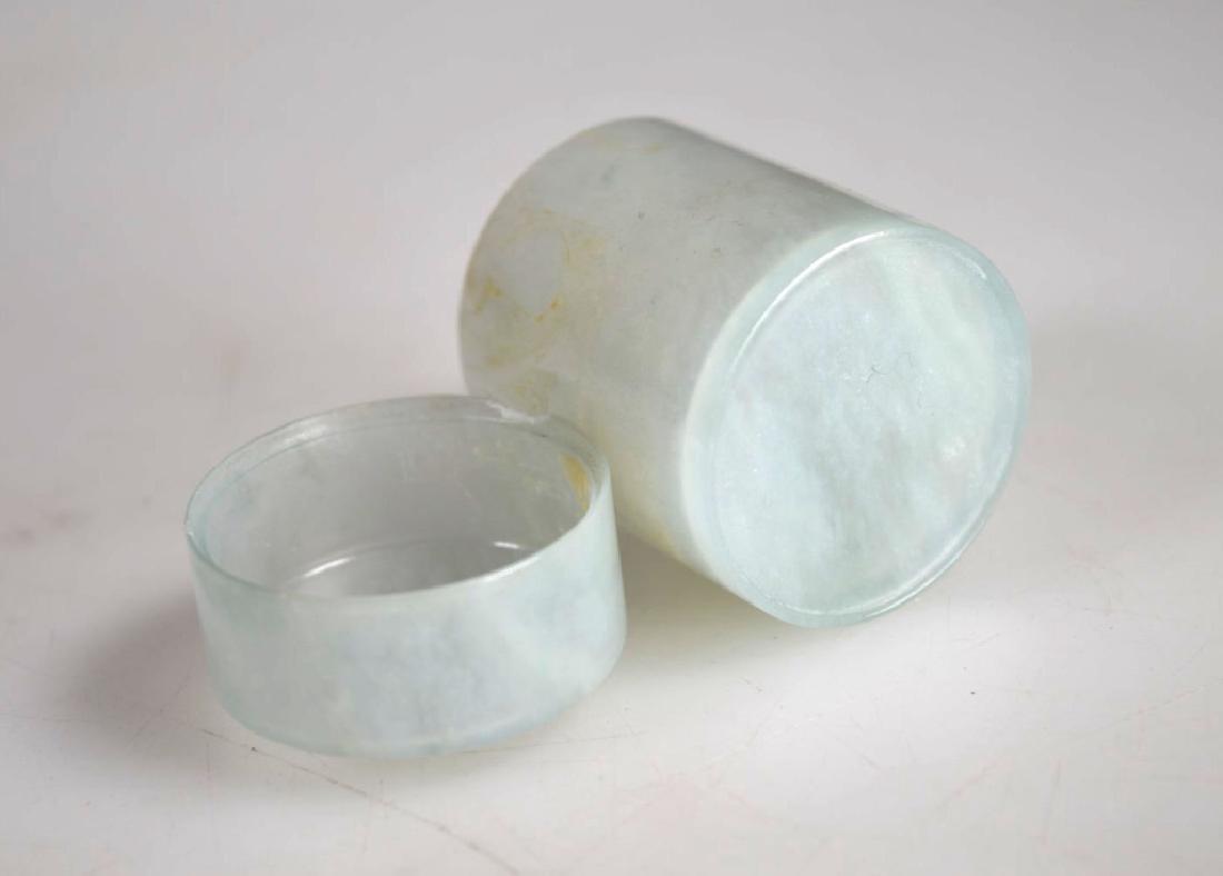 Chinese Very Thin Translucent Jadeite Tube Box - 4