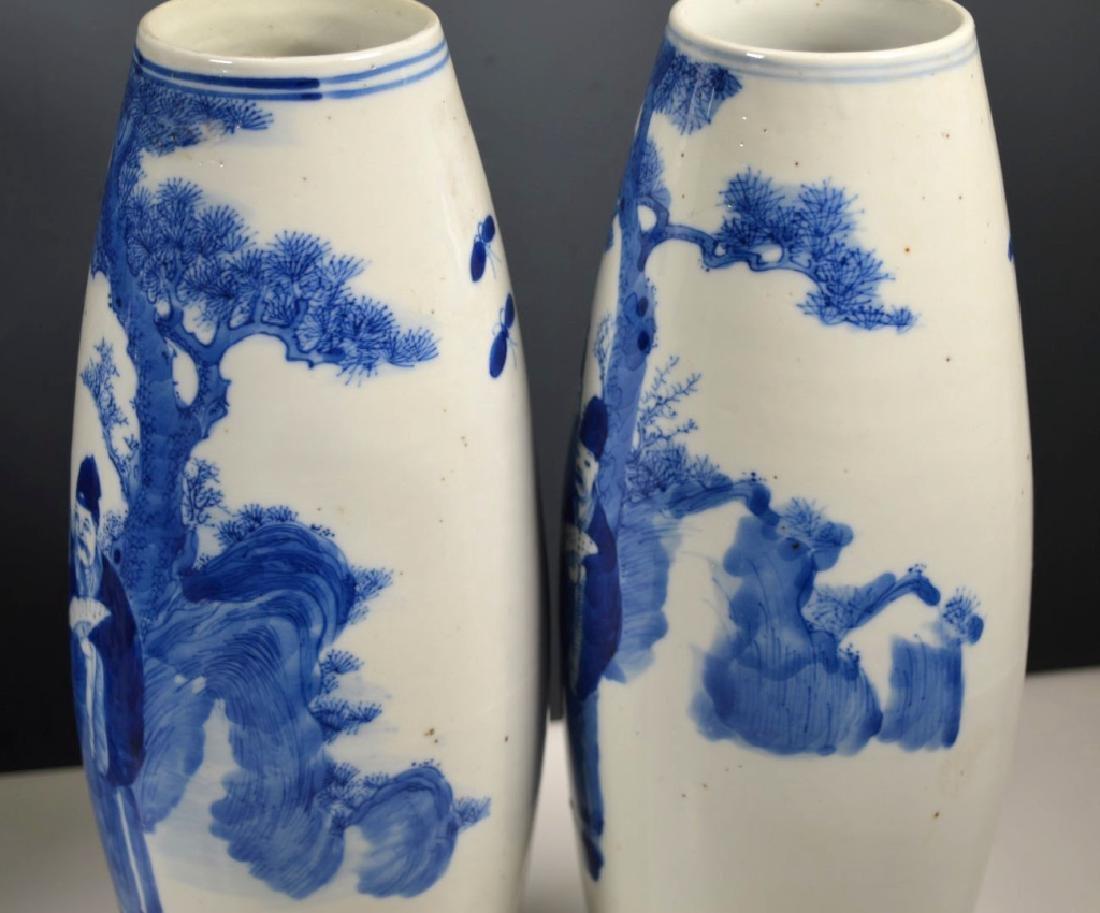 Pr Qing Chinese Blue & White Porcelain Vases - 3