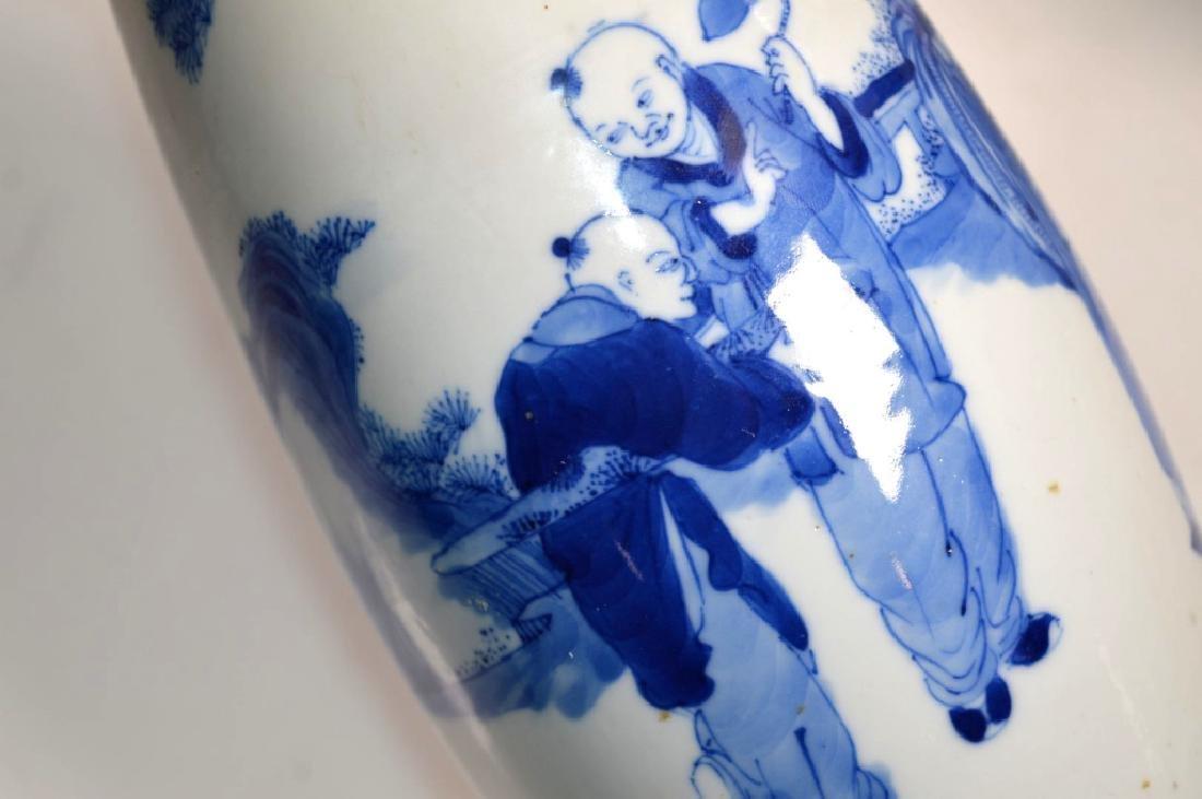 Pr Qing Chinese Blue & White Porcelain Vases - 7