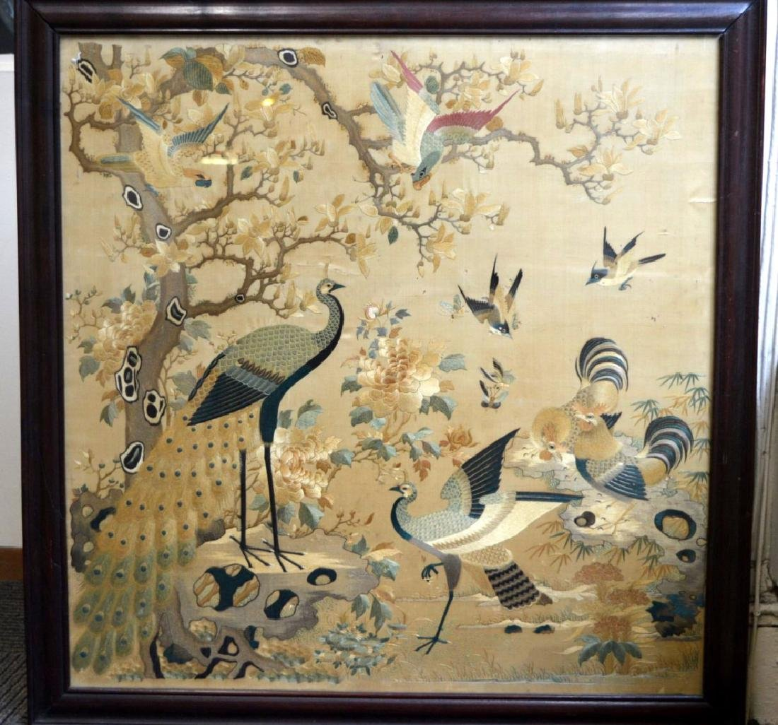 Antique Lg Chinese Silk Embroidery Hardwood Frame