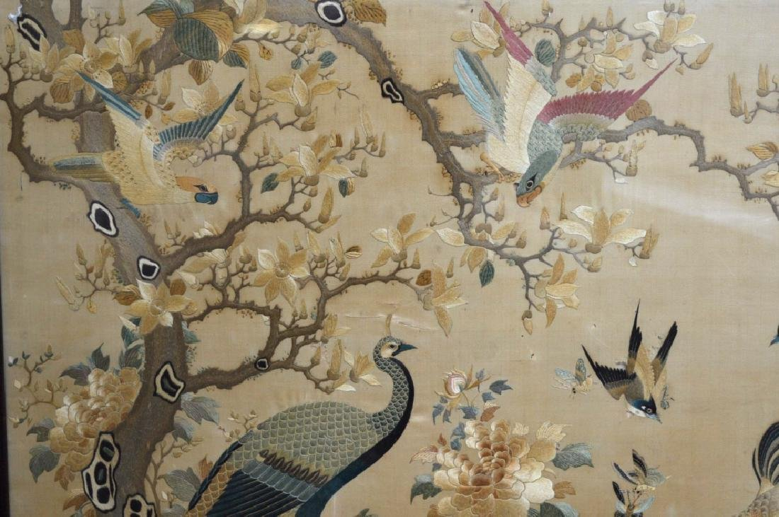 Antique Lg Chinese Silk Embroidery Hardwood Frame - 5