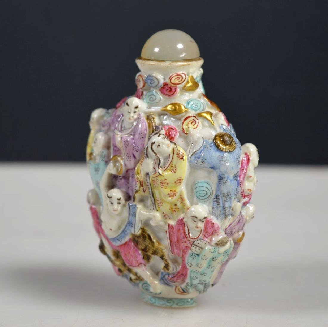 "Chinese Qing Biscuit Porcelain ""18 Lohan"" Snuff - 3"
