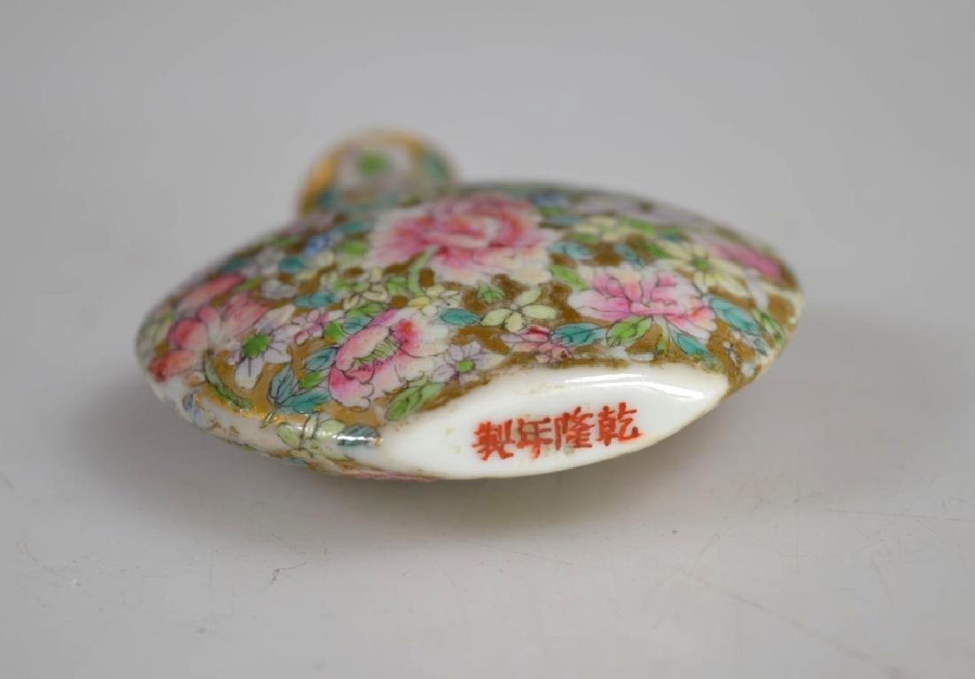 18 C Chinese Mille Fleur Porcelain Snuff Qianlong - 4