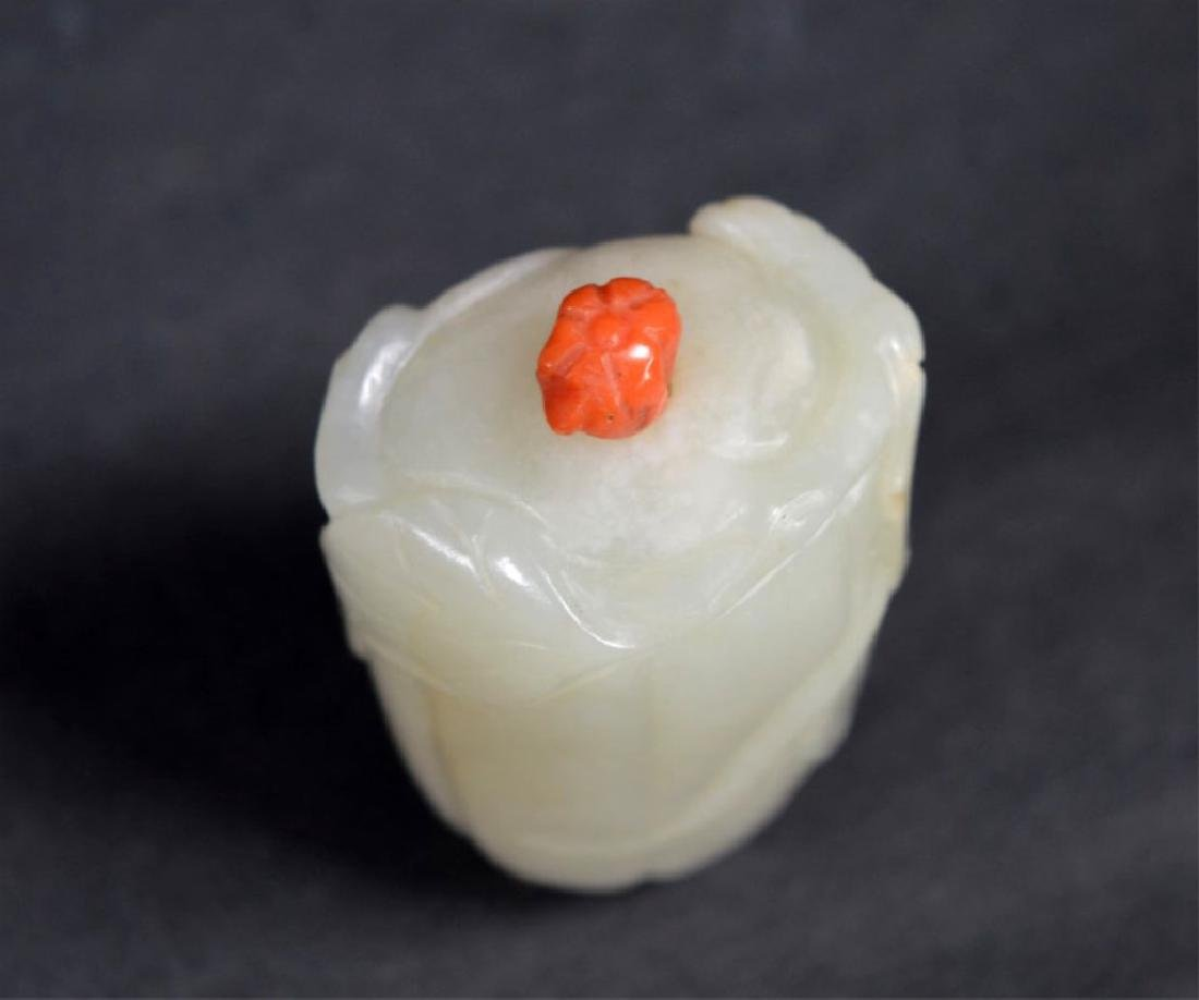 """19th C Chinese Carved Jade """"Melon"""" Snuff Bottle - 5"""