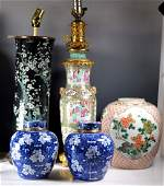 Christies  5 Chinese Qing Porcelain Lamps