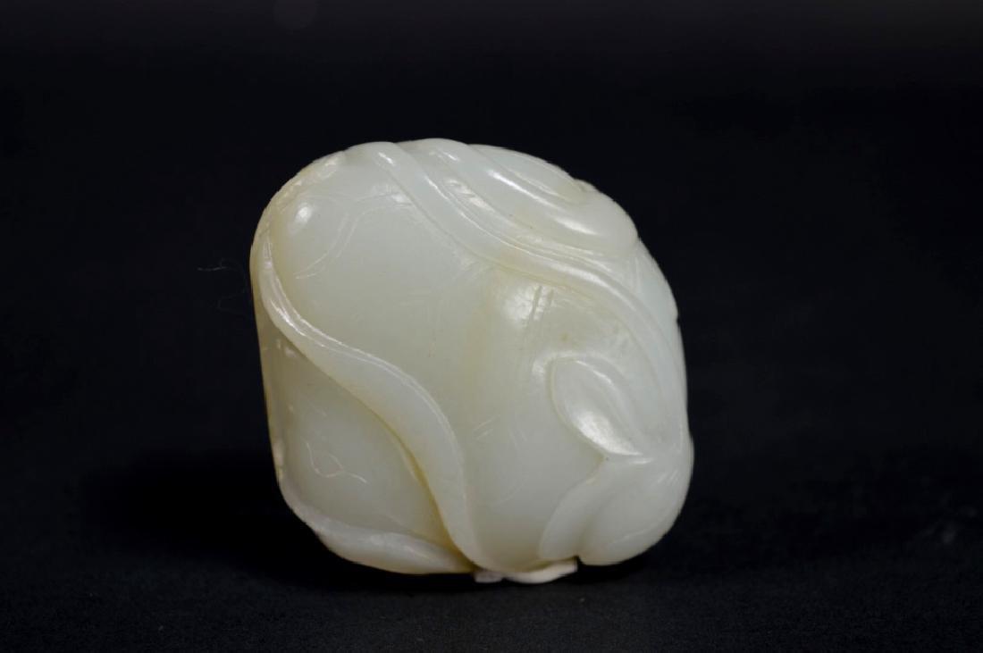 19th C Chinese White Jade Duck & Lotus Toggle