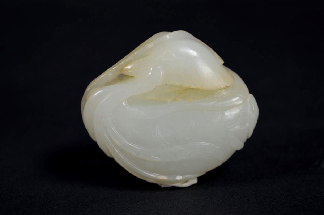 19th C Chinese White Jade Duck & Lotus Toggle - 2