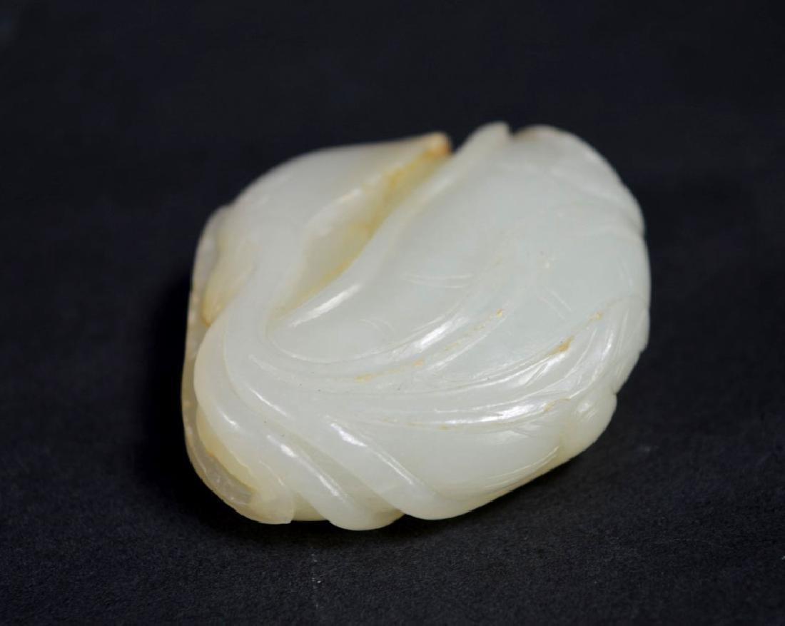 19th C Chinese White Jade Duck & Lotus Toggle - 3