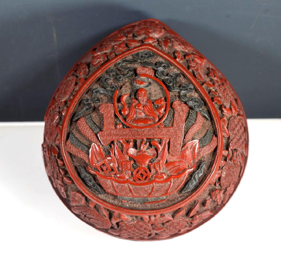 Chinese Carved and Cast Red Composition Box