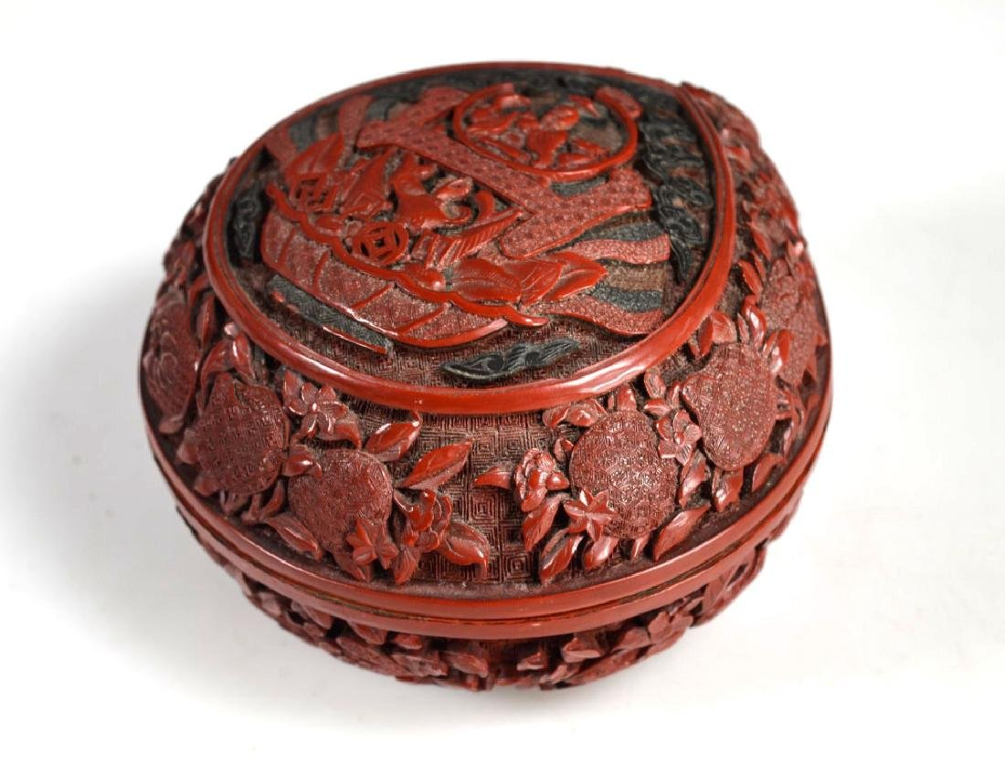 Chinese Carved and Cast Red Composition Box - 2