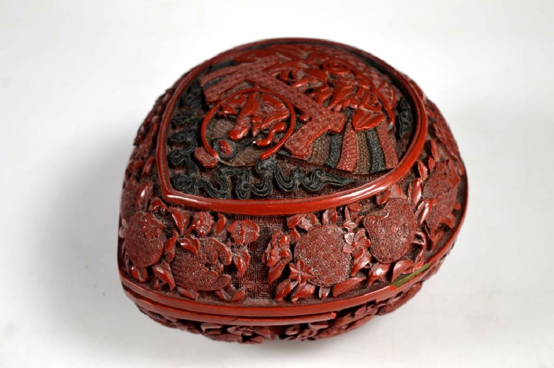 Chinese Carved and Cast Red Composition Box - 3