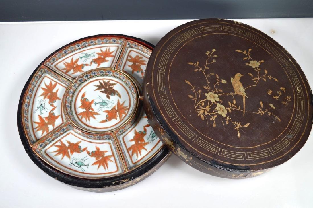 Qing Chinese Goldfish Sweetmeat Porcelain Set; Box