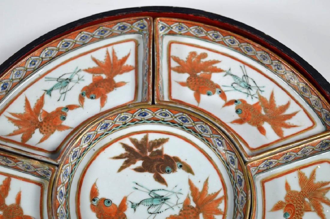 Qing Chinese Goldfish Sweetmeat Porcelain Set; Box - 3