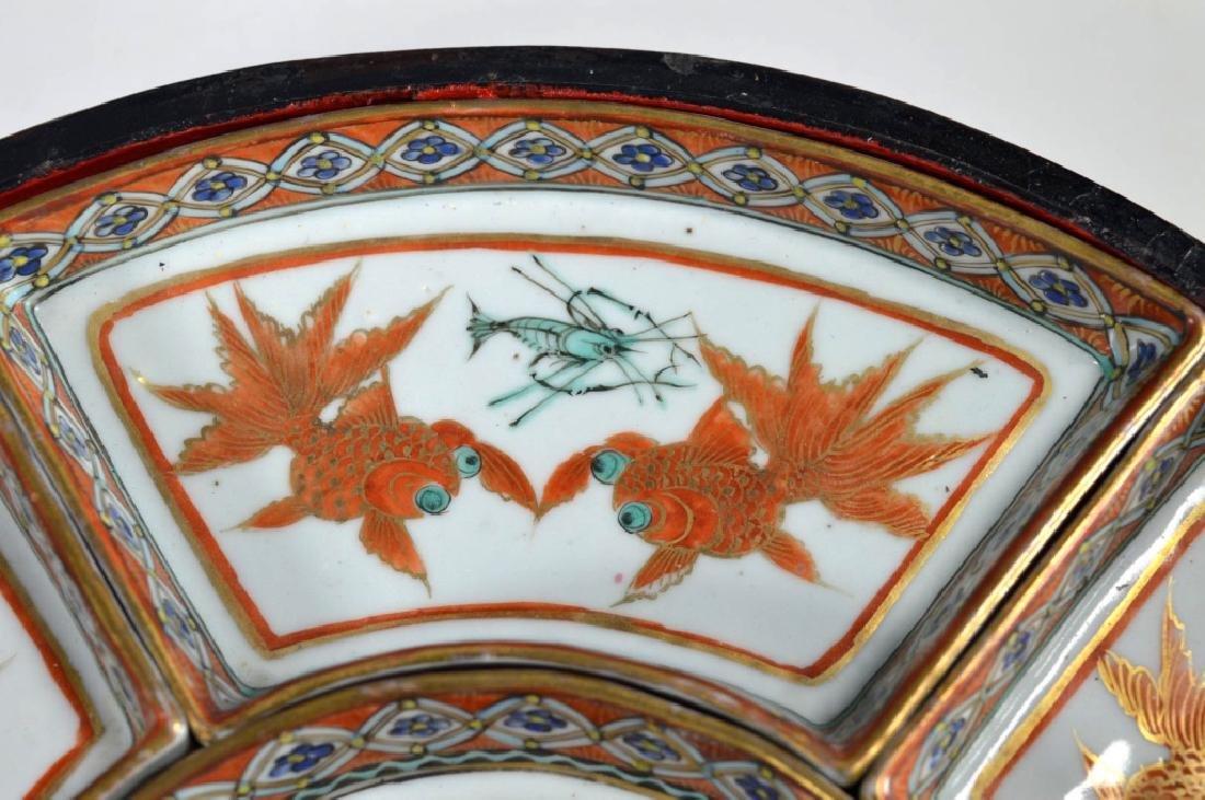 Qing Chinese Goldfish Sweetmeat Porcelain Set; Box - 4