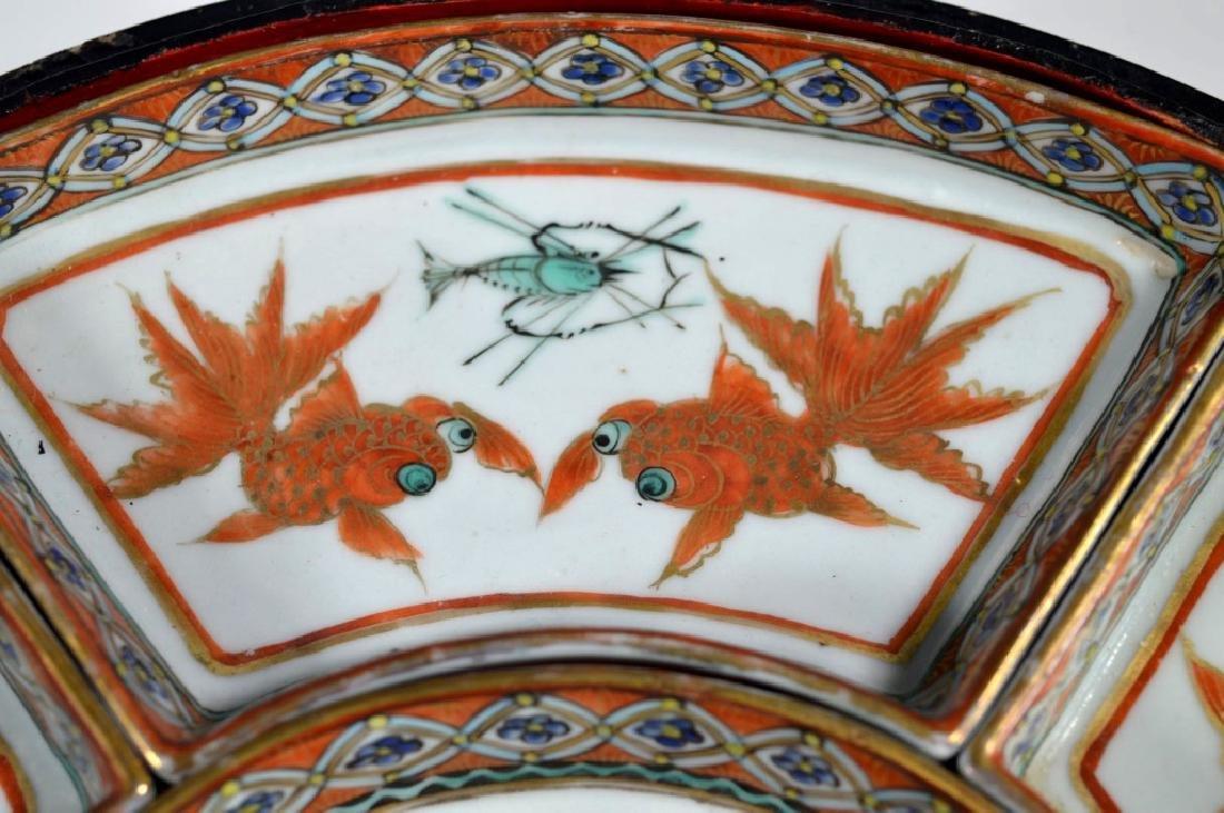 Qing Chinese Goldfish Sweetmeat Porcelain Set; Box - 5
