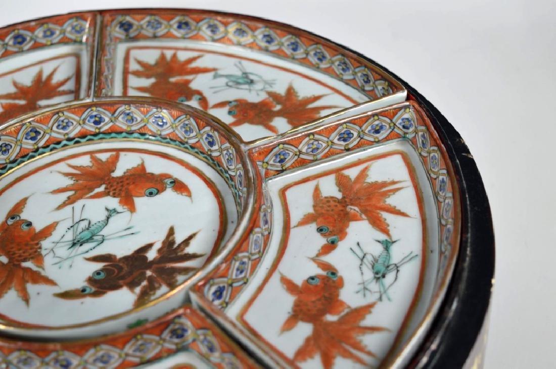 Qing Chinese Goldfish Sweetmeat Porcelain Set; Box - 6