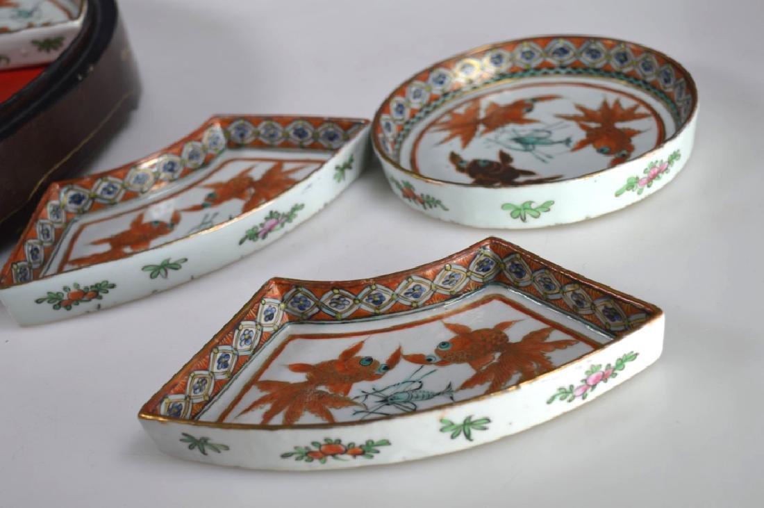 Qing Chinese Goldfish Sweetmeat Porcelain Set; Box - 8