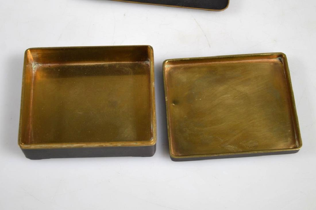 Antique Japanese Gold & Silver Inlay Iron Box Set - 3