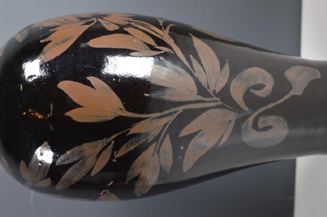 Black-glazed Russet-splashed Floral Bottle - 2