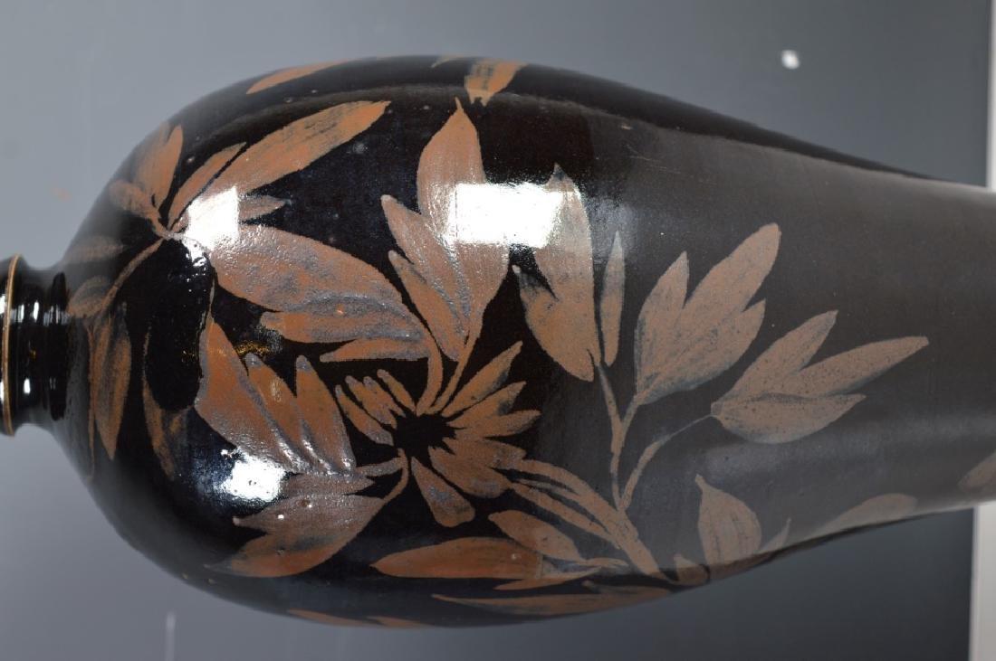 Black-glazed Russet-splashed Floral Bottle - 3