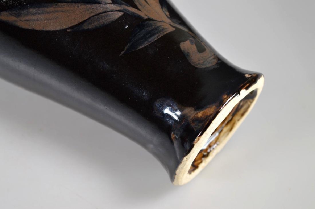 Black-glazed Russet-splashed Floral Bottle - 6