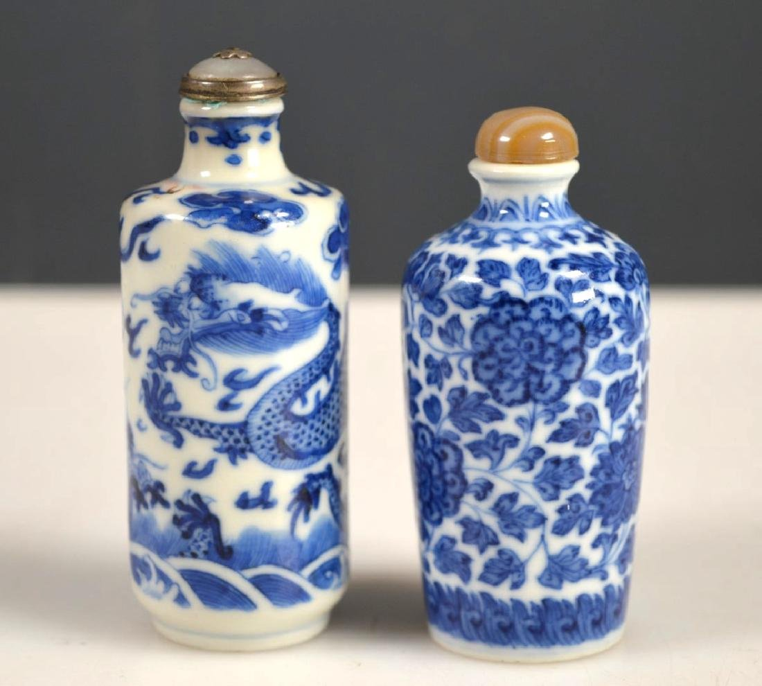 Two 19th C Chinese Blue &White Porcelain Snuffs
