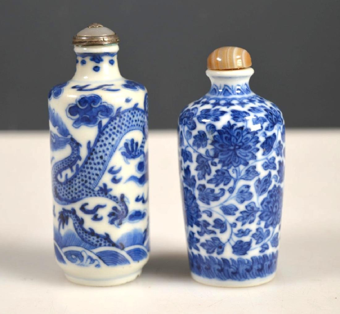 Two 19th C Chinese Blue &White Porcelain Snuffs - 2