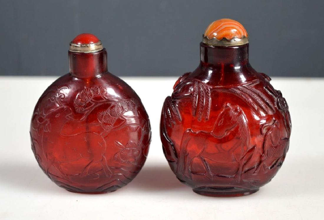 Two 18th/19th C Chinese Lg Ruby-Red Glass Snuffs