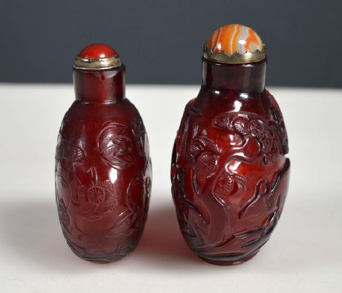 Two 18th/19th C Chinese Lg Ruby-Red Glass Snuffs - 3