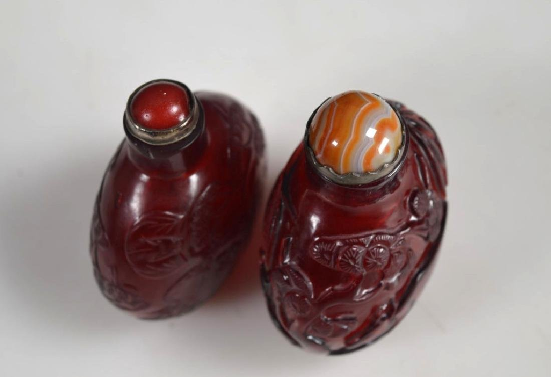 Two 18th/19th C Chinese Lg Ruby-Red Glass Snuffs - 6