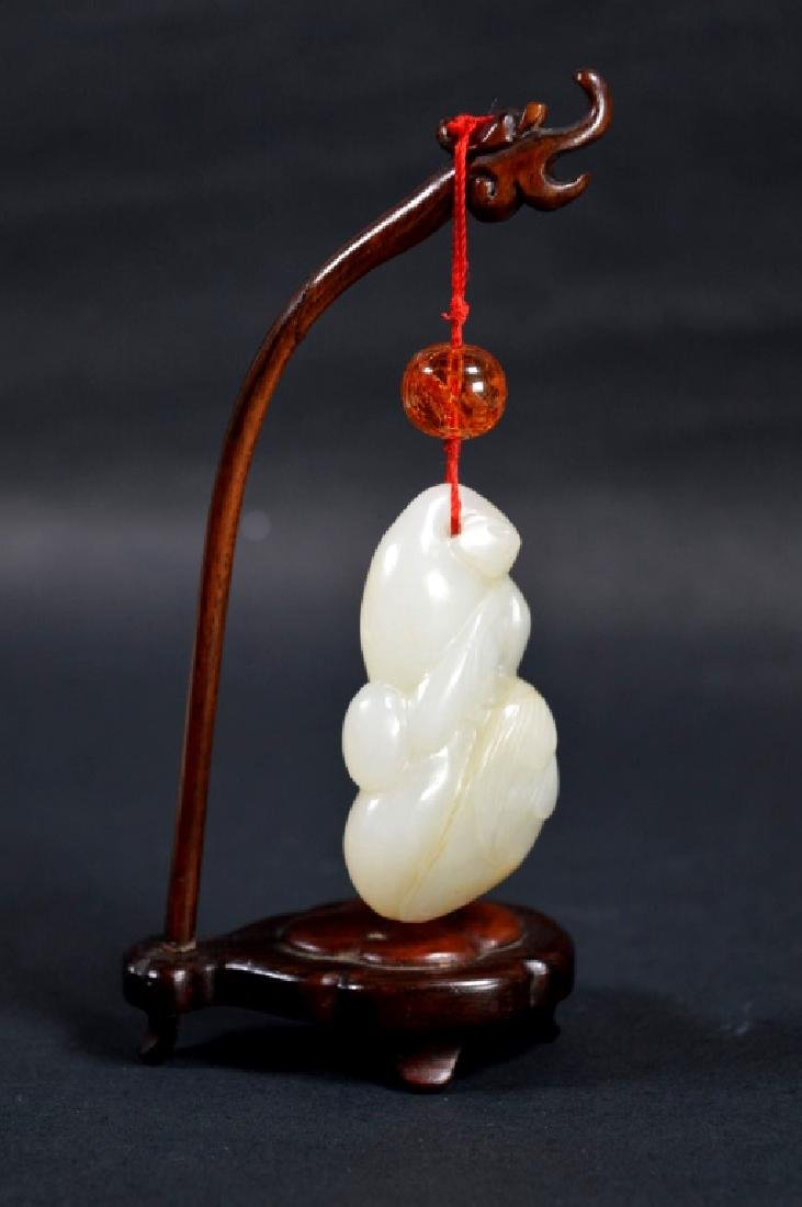 19th C Chinese Carved Jade Double Gourd Toggle