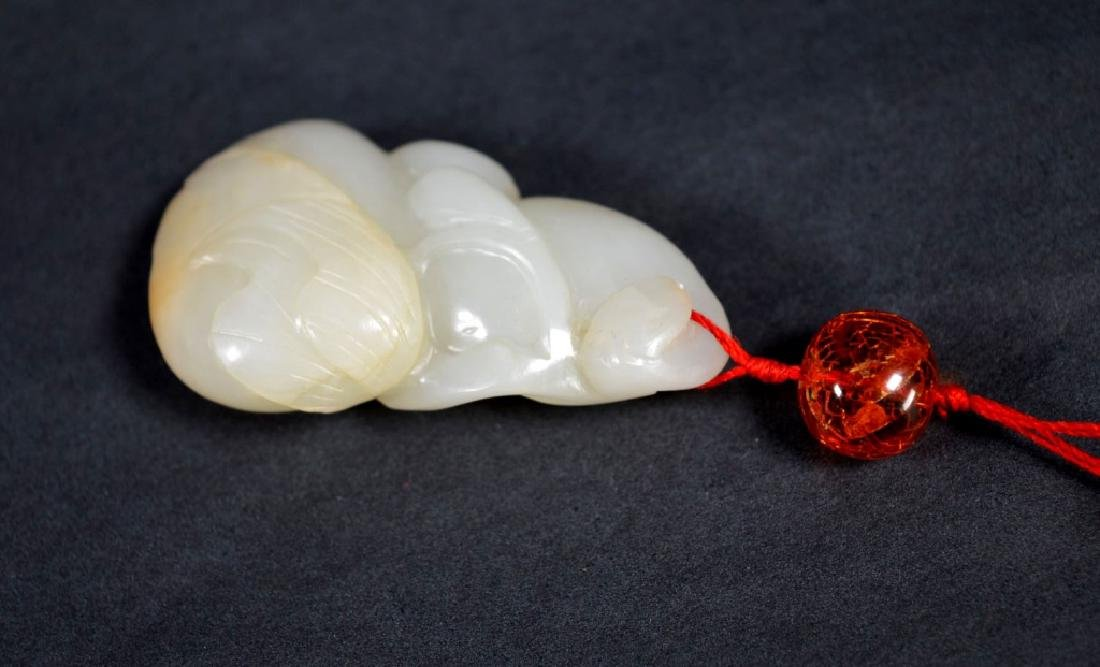 19th C Chinese Carved Jade Double Gourd Toggle - 3