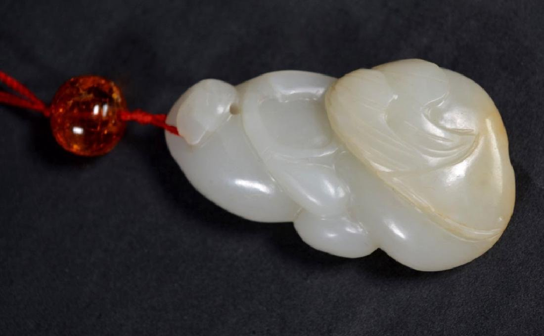 19th C Chinese Carved Jade Double Gourd Toggle - 5