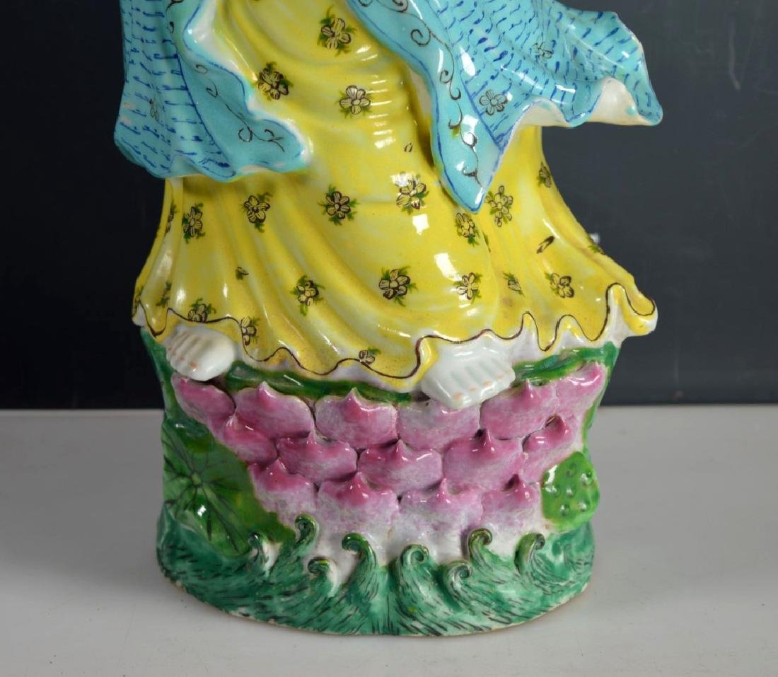 Fine Large Chinese Enameled Porcelain Guanyin - 4