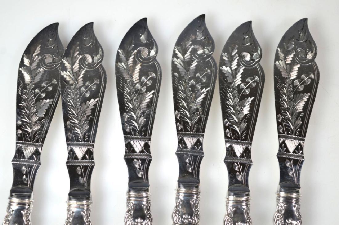 24 Sterling Aesthetic Movement 19C Knives & Forks - 4