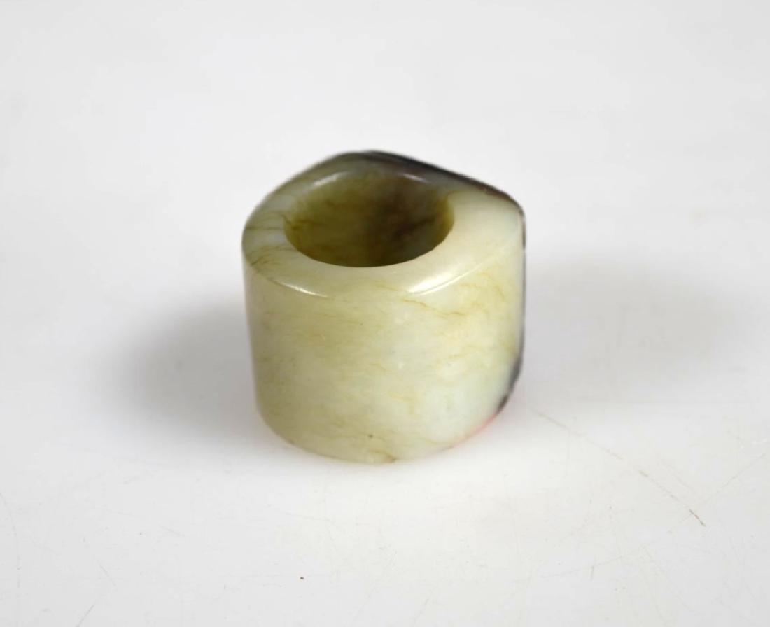 Antique Chinese Black & Pale Celadon Jade Ring - 2