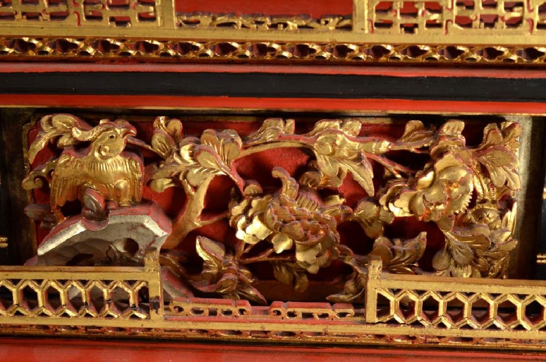 Qing Chinese Canton Gold, Red, Black Lacquer Stand - 2