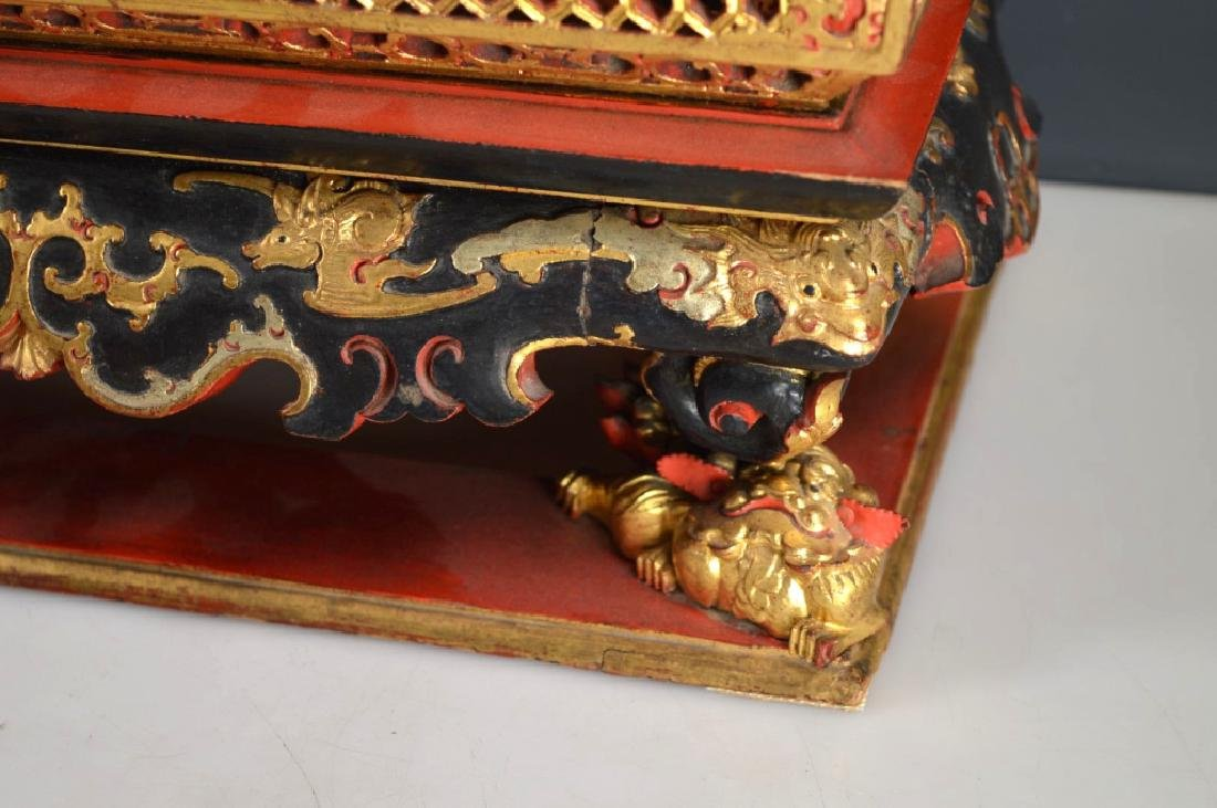 Qing Chinese Canton Gold, Red, Black Lacquer Stand - 3