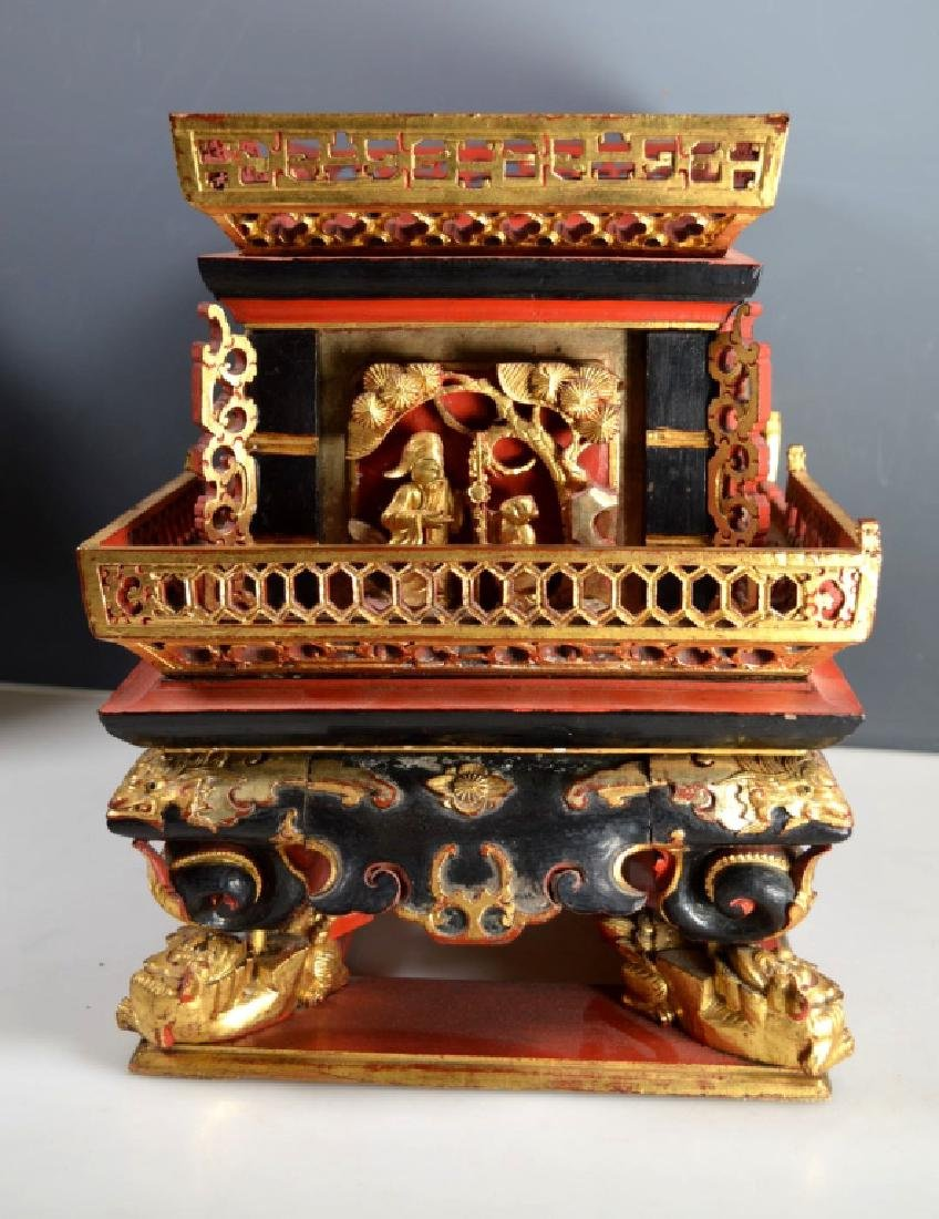 Qing Chinese Canton Gold, Red, Black Lacquer Stand - 4