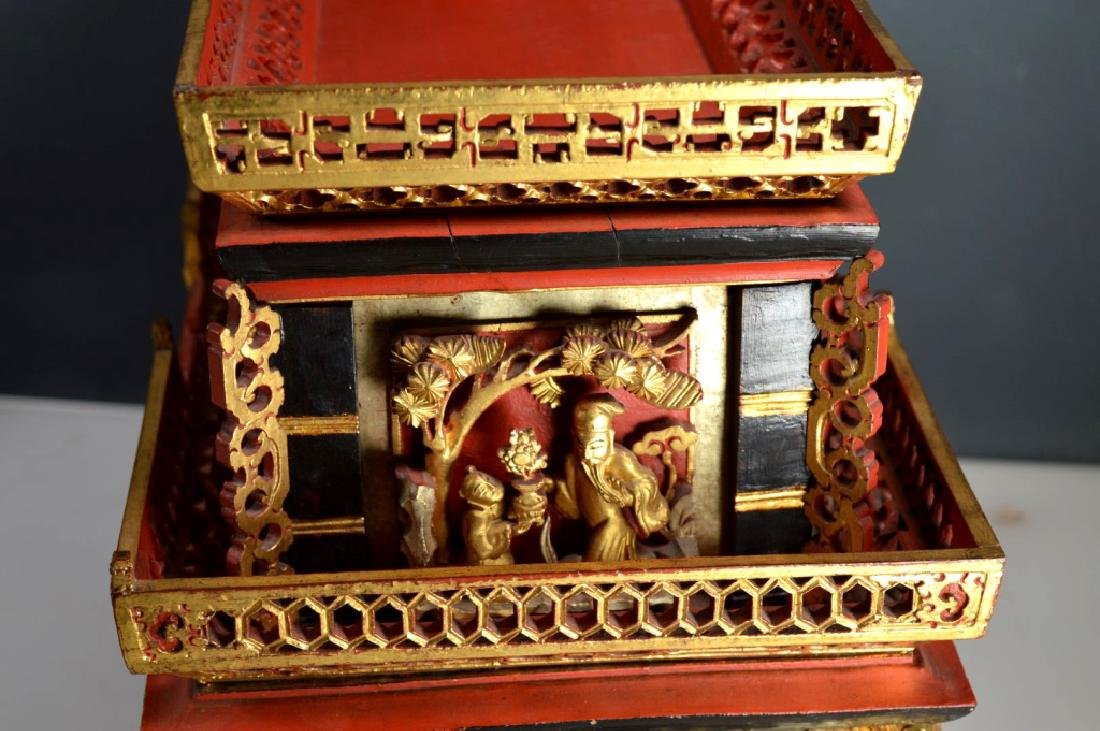 Qing Chinese Canton Gold, Red, Black Lacquer Stand - 7