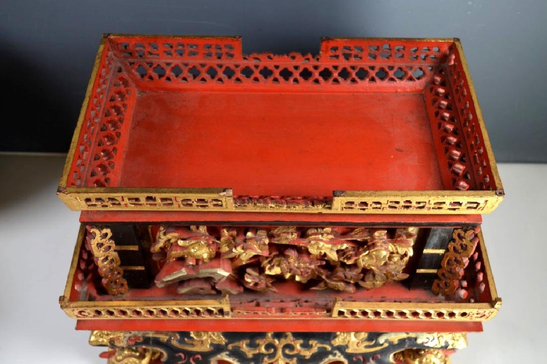 Qing Chinese Canton Gold, Red, Black Lacquer Stand - 8