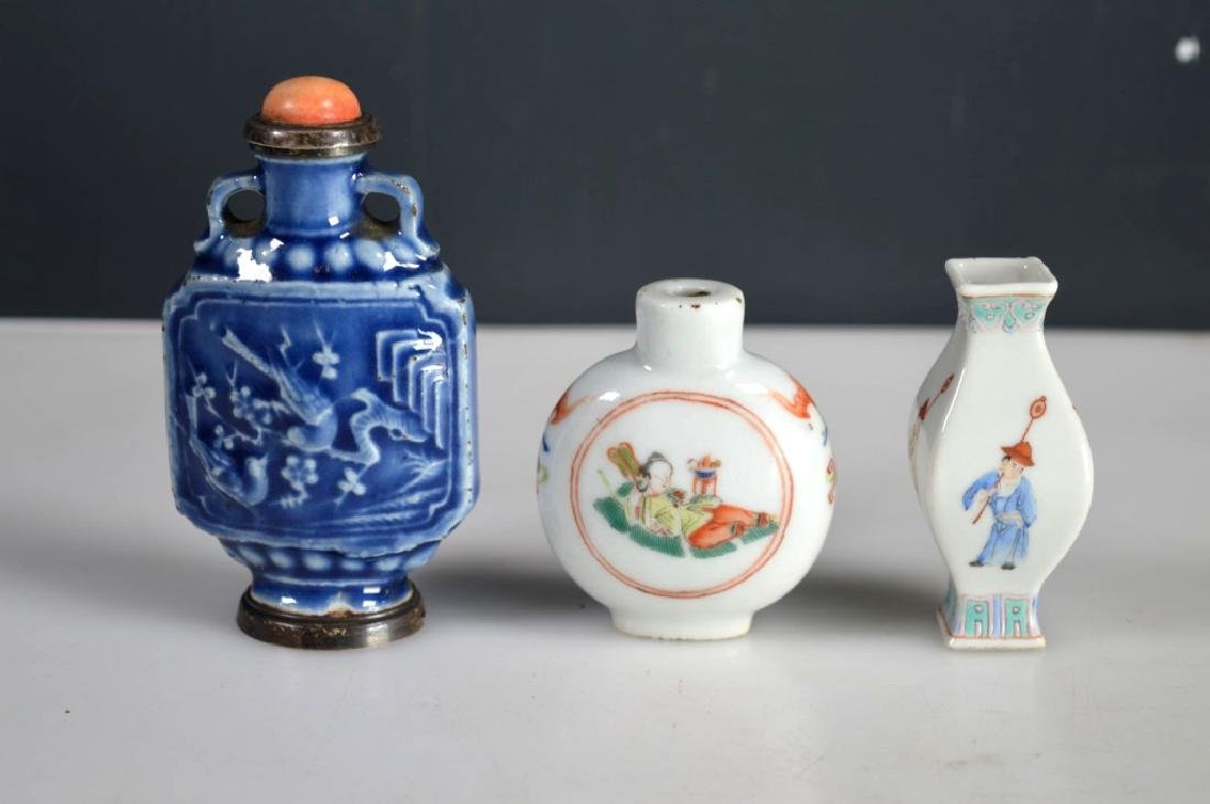 2 Antique Chinese Snuff Bottles; 1 Miniature Vase