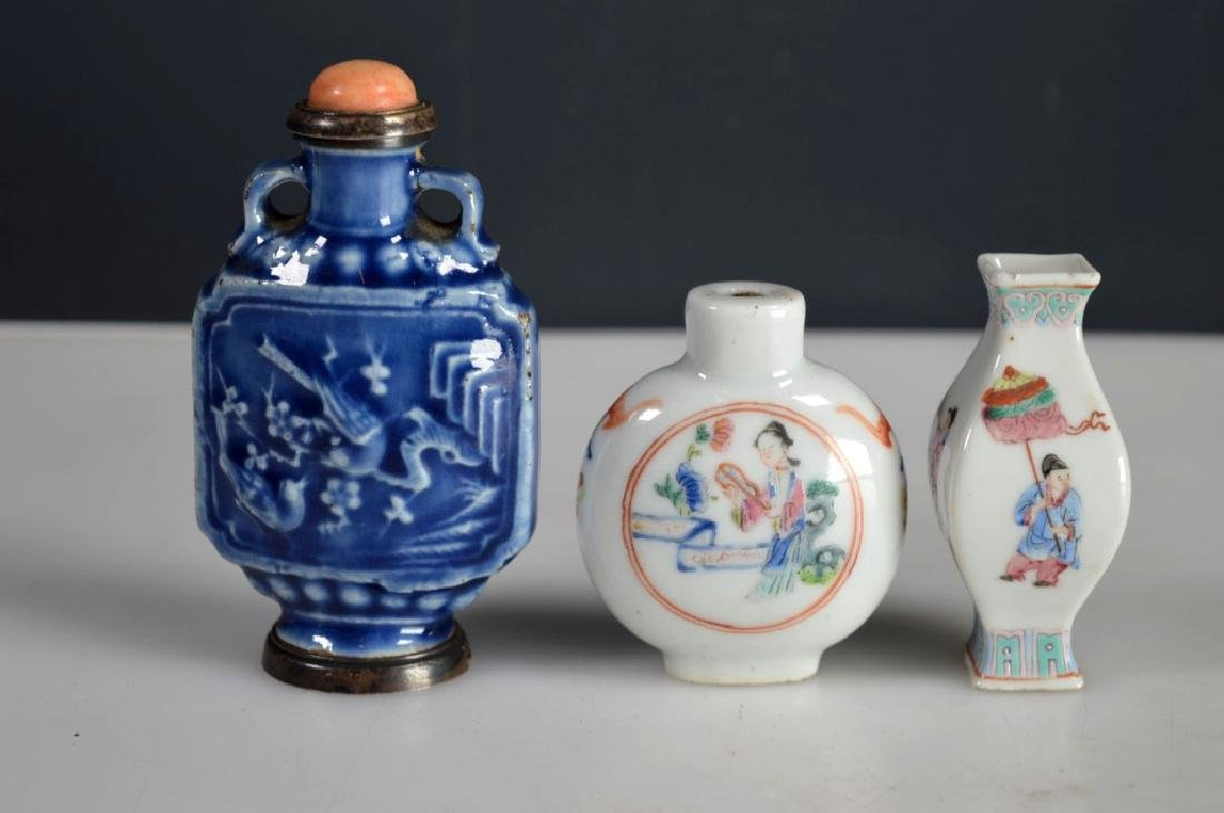2 Antique Chinese Snuff Bottles; 1 Miniature Vase - 2