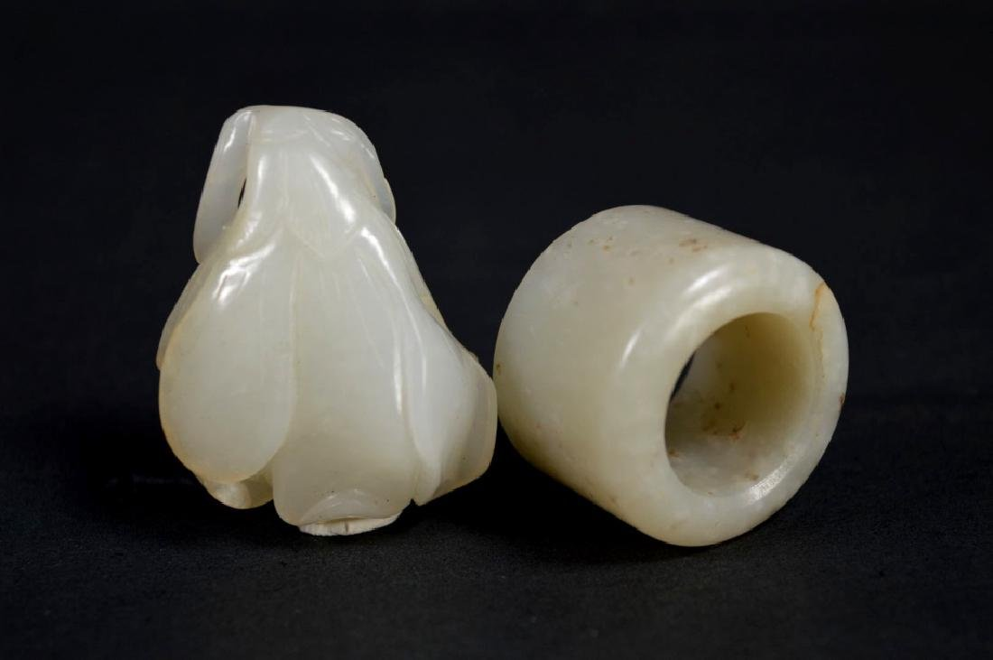 Chinese White Jade Magnolia Pendant; Archer's Ring