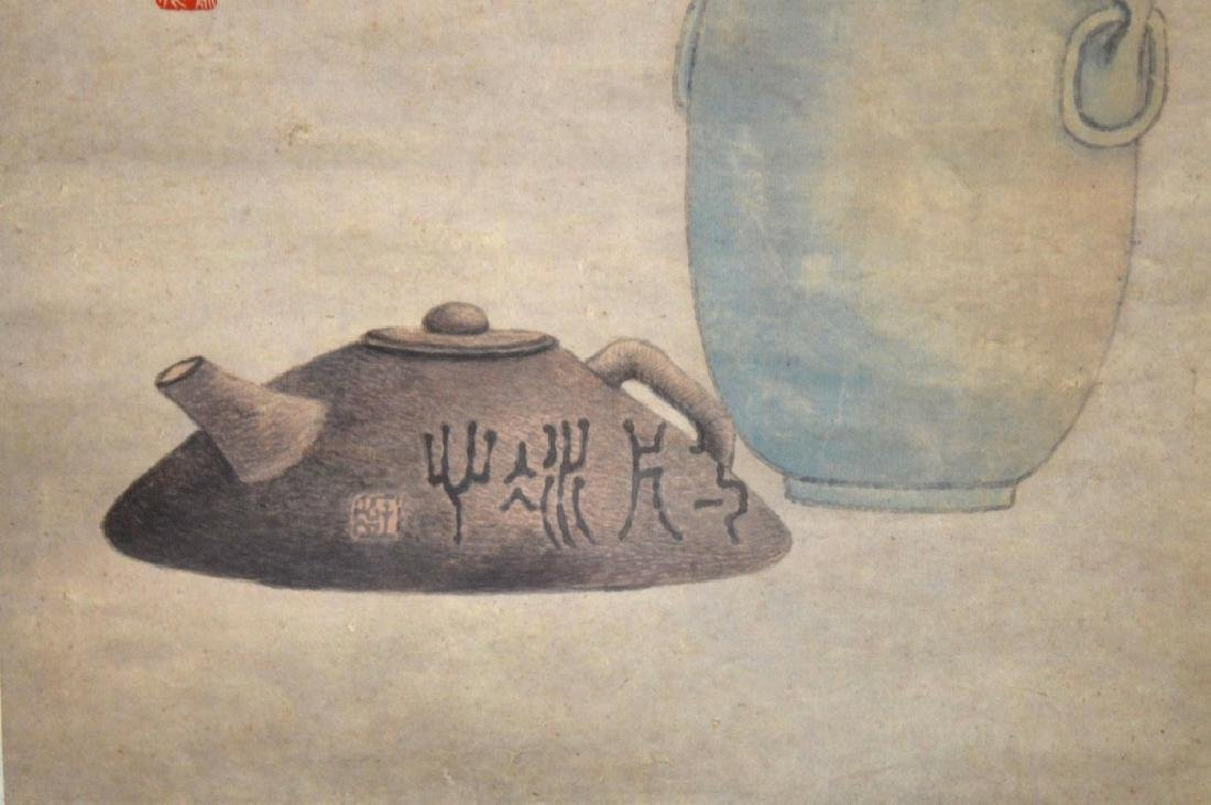 Chinese Ink Painting on Paper; Yixing Teapot - 5