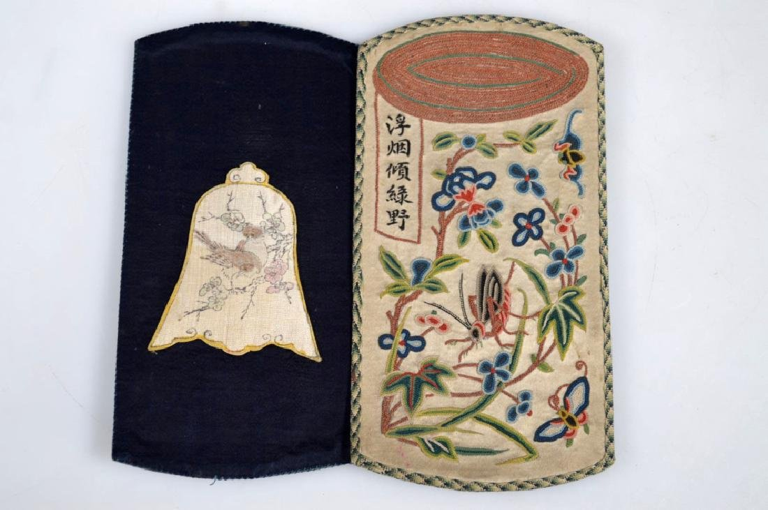Fine Qing Chinese Silk Embroidered Mirror Case